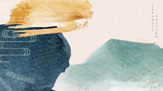 Sfondo di arte astratta con struttura dell'acquerello blu e giallo. motivo a onde giapponese con banner tratto di pennello in stile asiatico. Vettore Premium