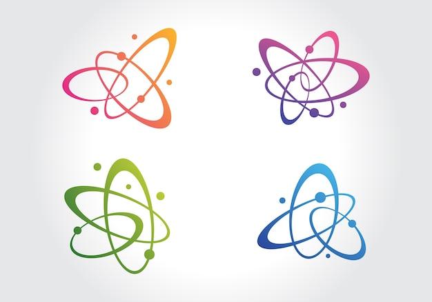 Molecola astratta dell'atomo nell'icona di movimento Vettore Premium