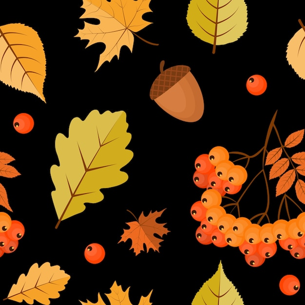 Fondo senza cuciture autunno astratto con foglie che cadono, sorbo e ghianda. Vettore Premium