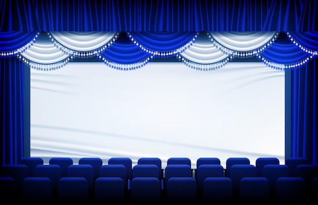 Il fondo astratto del teatro blu copre e tende e sedili della fase Vettore Premium