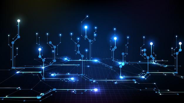 Fondo astratto della linea del circuito elettronico blu scuro digitale futuristico Vettore Premium