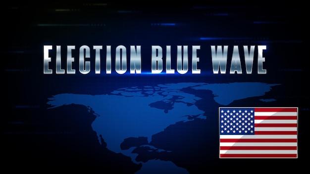 Sfondo astratto di tecnologia futuristica usa flag world map e us election blue wave stock market Vettore Premium