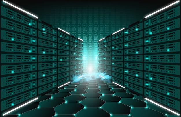 Priorità bassa astratta della stanza di dati del server di internet di tecnologia Vettore Premium