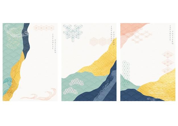 Sfondo astratto con texture oro. elemento acrilico artistico con motivo ondulato giapponese in stile orientale. Vettore Premium