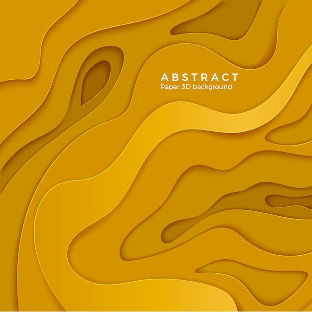 Sfondo astratto con forme tagliate di carta gialla. strato di carta ondulata di colore. per poster e presentazioni aziendali. illustrazione Vettore Premium