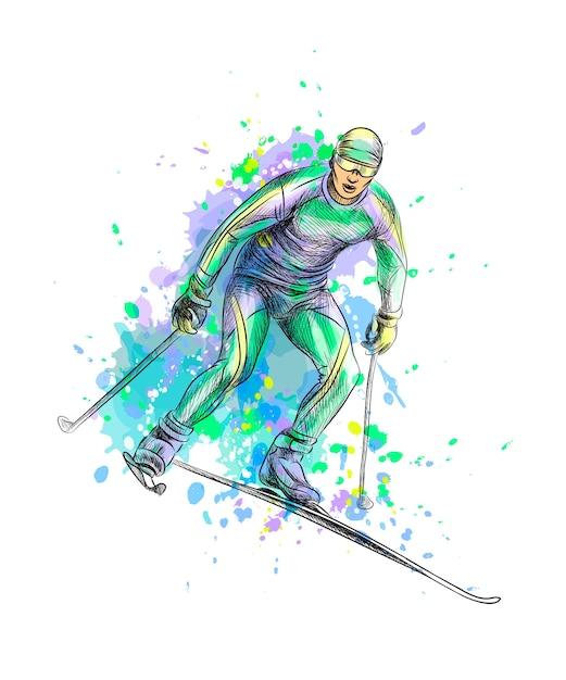 Biatleta astratto da una spruzzata di acquerello, schizzo disegnato a mano. illustrazione di vernici Vettore Premium