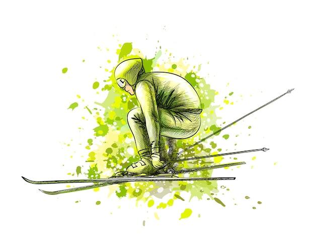 Biatleta astratto da una spruzzata di acquerello, schizzo disegnato a mano. sport invernali. illustrazione di vernici Vettore Premium