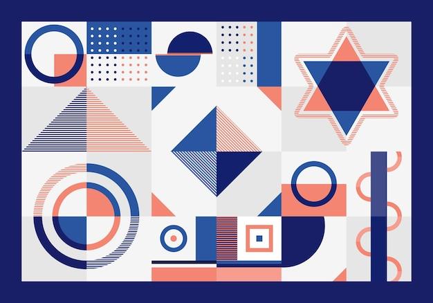I rettangoli, il triangolo, i quadrati e i cerchi del modello geometrico astratto blu e arancio modellano su fondo bianco. Vettore Premium
