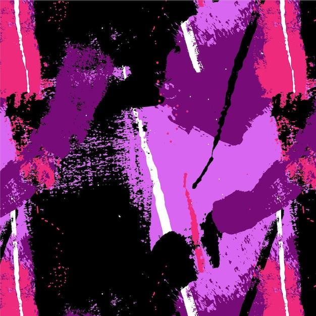Modello di vernice rosa e viola tratto pennello astratto Vettore Premium