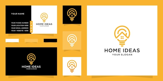 Lampada lampadina astratta e logo domestico e design biglietto da visita Vettore Premium