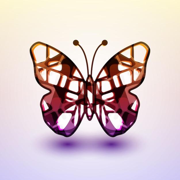 Farfalla astratta, futuristica illustrazione colorata Vettore Premium