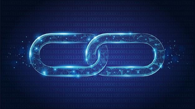 Collegamenti a catena astratti low poly costituiti da punti, linee e forme su sfondo blu scuro. concetto di wireframe. Vettore Premium