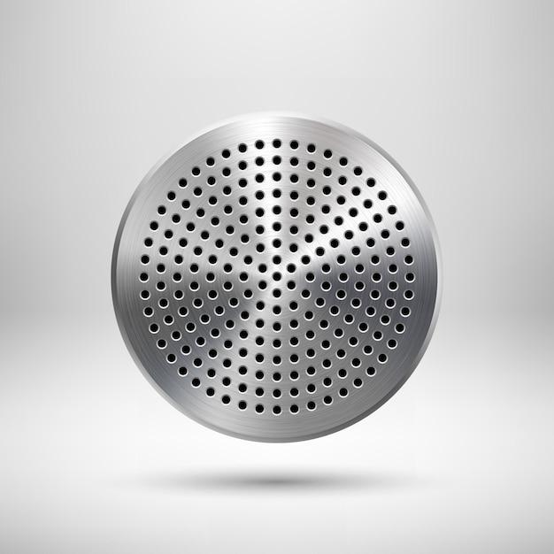 Distintivo astratto del cerchio, modello del pulsante audio con motivo a griglia dell'altoparlante perforato a cerchio, struttura in metallo Vettore Premium