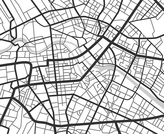 Mappa di navigazione della città astratta con linee e strade. Vettore Premium
