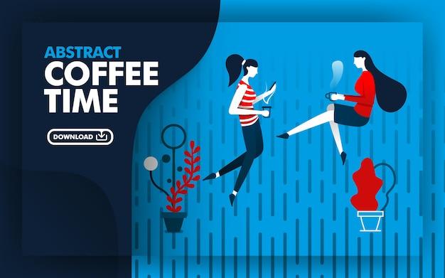 Illustrazione astratta di tempo del caffè Vettore Premium