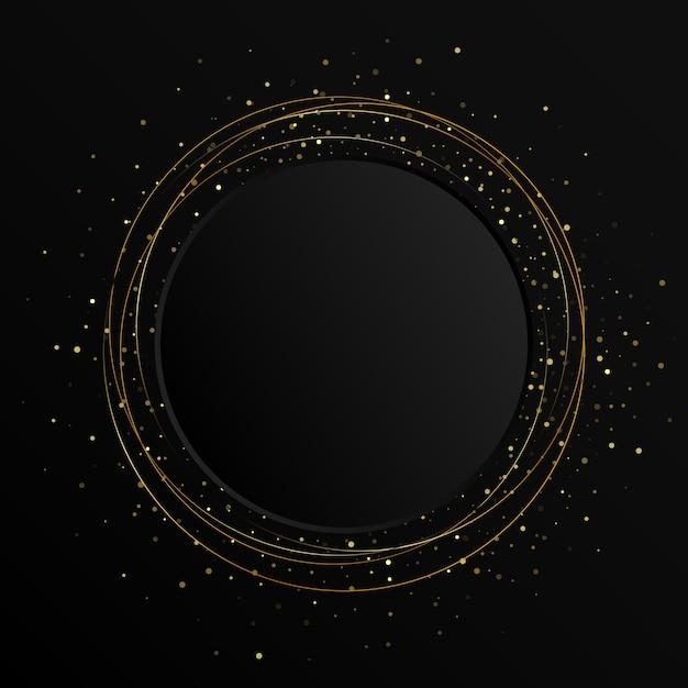 Elemento astratto di colore oro con effetto glitter su sfondo scuro. bandiera nera del cerchio Vettore Premium