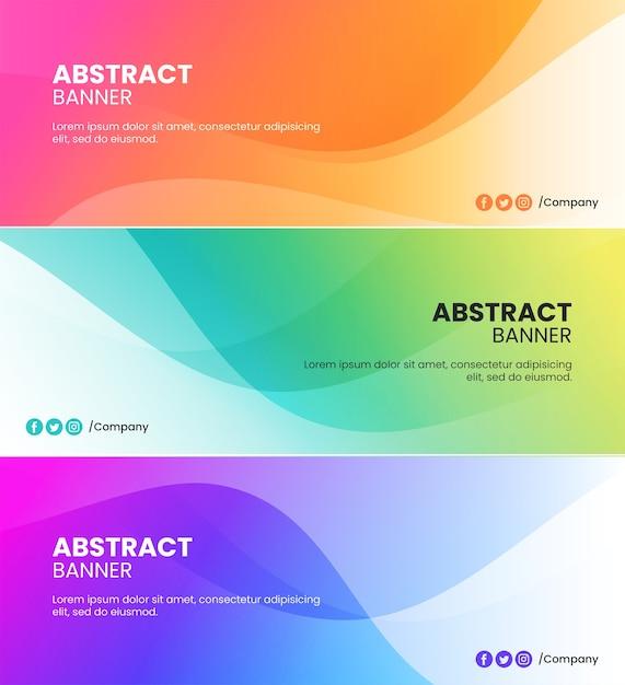 Sfondi di banner di onde colorate astratte di arancione, rosa, verde, blu e viola Vettore Premium