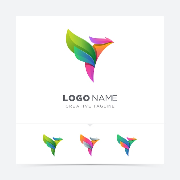Variazione logo astratto uccello colorato Vettore Premium