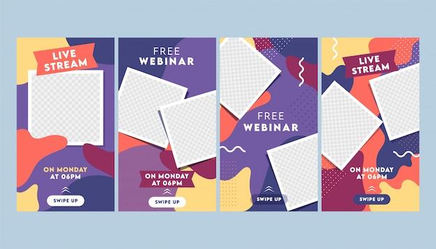 Modello astratto colorato storie instagram o layout di volantino con cornice quadrata vuota in quattro opzioni. Vettore Premium