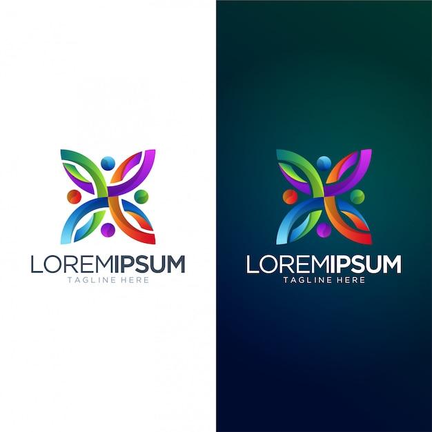 Logo colorato astratto modello vettoriale Vettore Premium