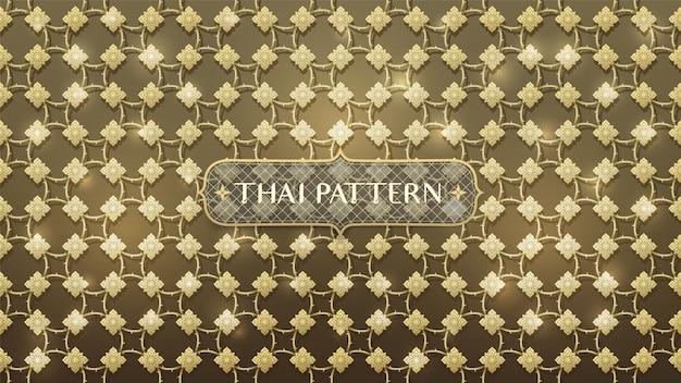 Modello tailandese dell'oro di collegamento astratto Vettore Premium