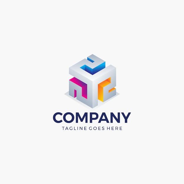 Colore brillante di forma astratta del cubo per tecnologia, affari, società. modello di progettazione del logo Vettore Premium