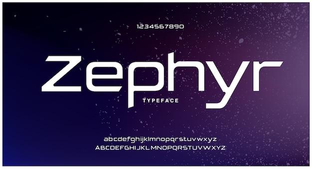 Caratteri alfabeto moderno futuristico digitale astratto Vettore Premium