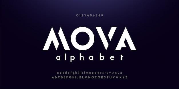 Caratteri moderni di alfabeto di tecnologia digitale astratta Vettore Premium