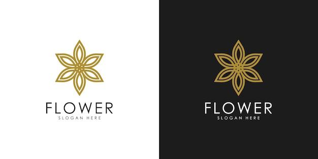 Logo astratto fiore elegante Vettore Premium