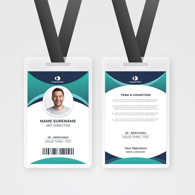 Modello astratto di carta d'identità dei dipendenti con foto Vettore Premium
