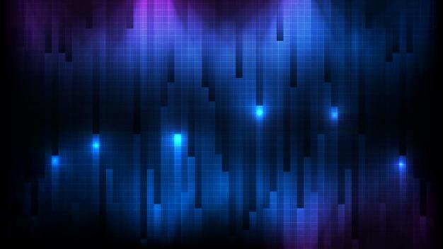 Fondo futuristico astratto della parete blu del bastone del quadrato del collegamento Vettore Premium