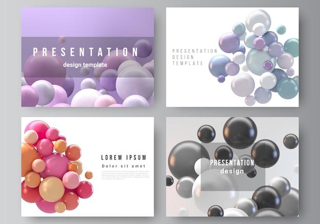 Fondo futuristico astratto con sfere colorate, bolle lucide, palline. Vettore Premium