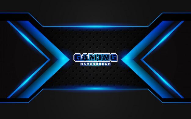 Priorità bassa di gioco nera e blu futuristica astratta Vettore Premium