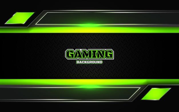 Fondo nero e verde futuristico astratto di gioco Vettore Premium