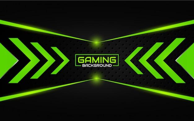 Priorità bassa di gioco nera e verde futuristica astratta Vettore Premium
