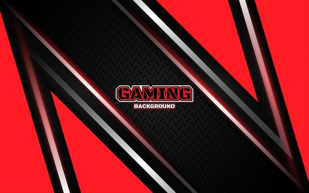 Priorità bassa di gioco nera e rossa futuristica astratta Vettore Premium