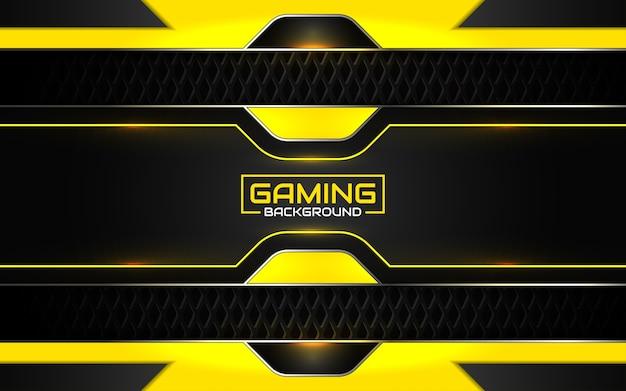 Fondo nero e giallo futuristico astratto di gioco Vettore Premium