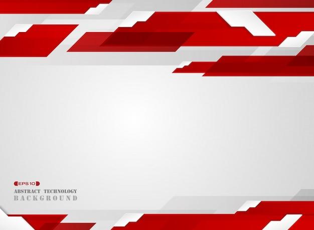 Estratto del modello di linea di striscia rossa gradiente futuristico con sfondo ombra bordo bianco. Vettore Premium