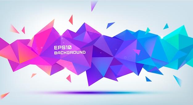Forma di sfaccettatura 3d geometrica astratta. utilizzare per banner, web, brochure, annunci, poster, ecc. sfondo stile moderno poli basso. viola, multicolore Vettore Premium
