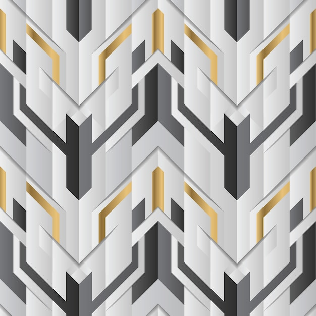 Decorazioni geometriche astratte strisce bianche e dorate Vettore Premium