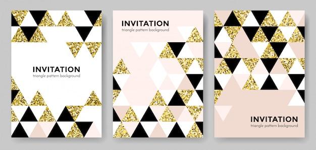 Fondo geometrico astratto del modello dell'oro per il modello di progettazione di carta dell'invito degli elementi dorati d'avanguardia moderni del triangolo e del quadrato. sfondo di geometria o glitter oro texture poster sfondo Vettore Premium