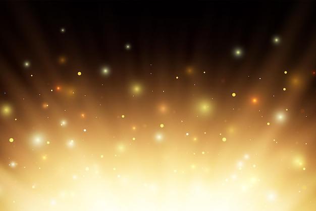 Abstract incandescente fuoco ardente raggi di luce con sparcs e particelle su sfondo nero. Vettore Premium