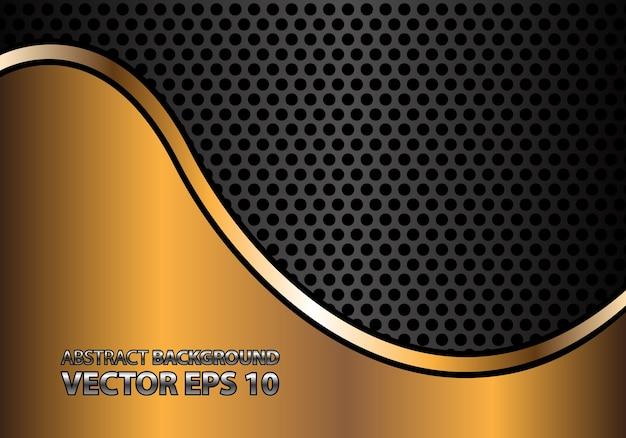 Linea curva astratta dell'oro sulla maglia del cerchio di metallo grigio Vettore Premium