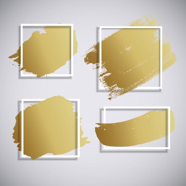 Fondo disegnato a mano del colpo di pennello di vernice dorata astratta Vettore Premium