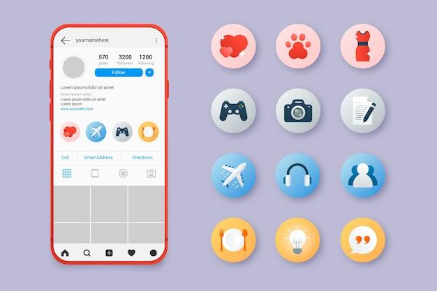 Raccolta di punti salienti di instagram sfumati astratti Vettore Premium