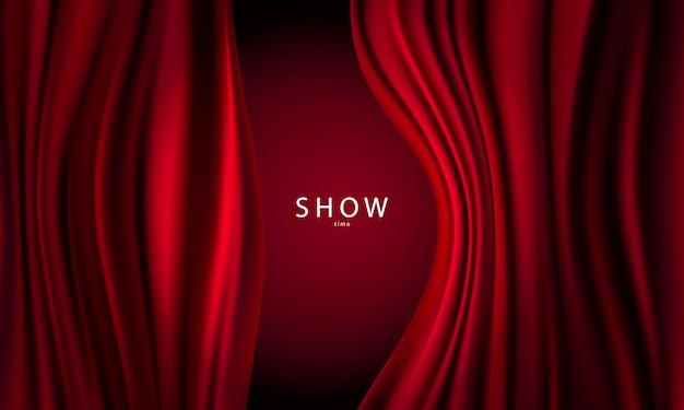 Sfumature astratte, tessuto rosso onde banner modello sfondo. Vettore Premium