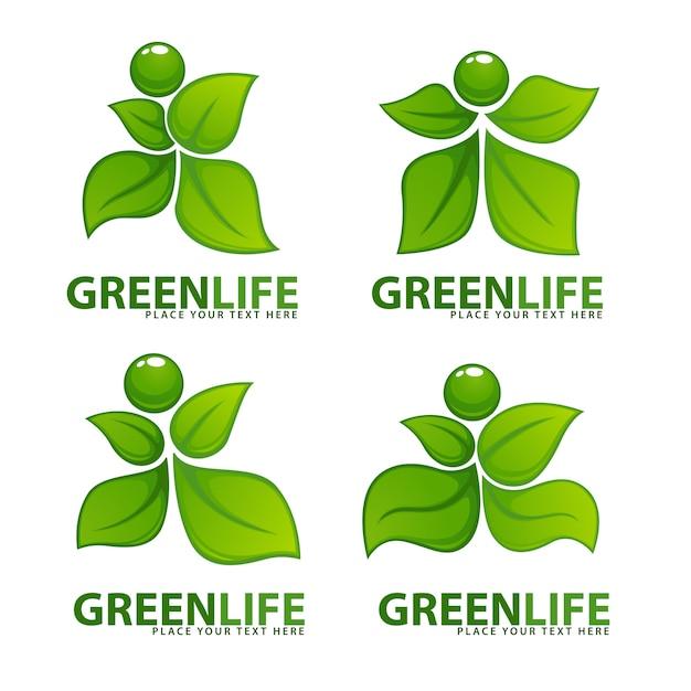 Gente verde astratta per il tuo logo di ecologia e salute Vettore Premium
