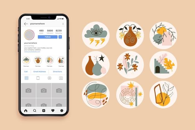 Collezione di punti salienti di instagram disegnati a mano astratti Vettore Premium