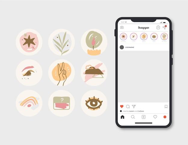 Punti salienti di instagram disegnati a mano astratti Vettore Premium