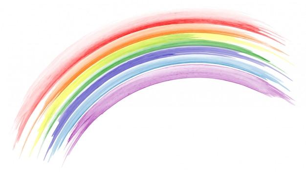 Acquerello arcobaleno dipinto a mano astratto Vettore Premium